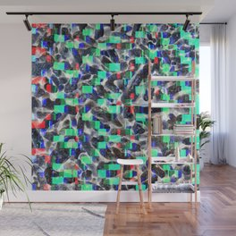 Crazy Funk Glow Petrol and Black Colour Pattern Wall Mural