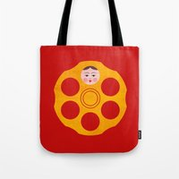 russian Tote Bags featuring Russian Roulette by Quick Brown Fox