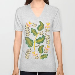 Tropical flowers and banana leaves // Green Pink Yellow Palette Unisex V-Neck