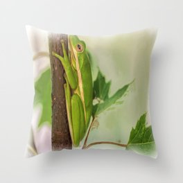 Painted Green Tree Frog Throw Pillow
