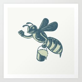 Honey Bee Waving With Pail of Honey Scratchboard Art Print
