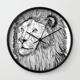 Abstract lion line drawing / black and white Wall Clock