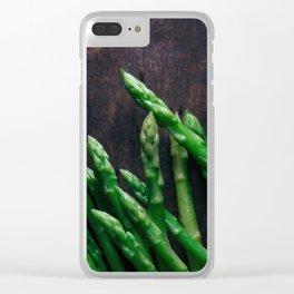 Asparagus on wooden floor Clear iPhone Case