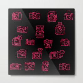Camera: Pink - pop art illustration Metal Print