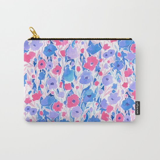Flower Field Lilac Blue Carry-All Pouch