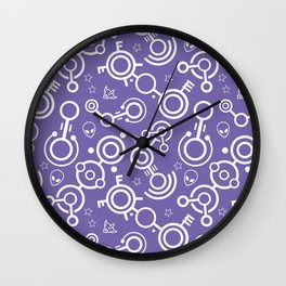 Crop Circles (Purple & White) Wall Clock