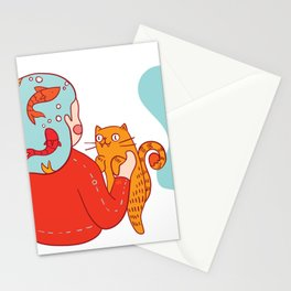 Girl with fish hair Stationery Cards