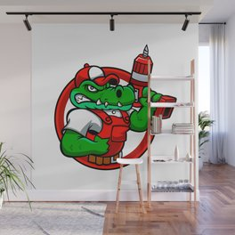 Cartoon angry crocodile Wall Mural