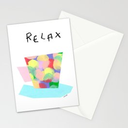 Relax Tea Time - modern colorful coffee cup Scandinavian Stationery Cards