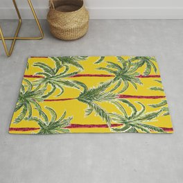 Painterly Palms on Mustard Rug
