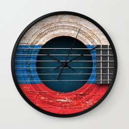 Old Vintage Acoustic Guitar with Russian Flag Wall Clock