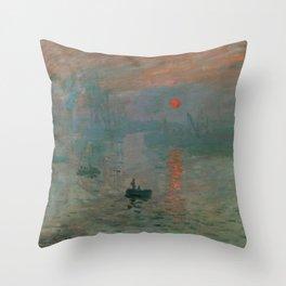Claude Monet - Impression, Sunrise Throw Pillow
