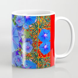 Red Modern Art  Blue Morning Glories Floral Art Coffee Mug