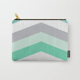 Mint and gray chevron Carry-All Pouch