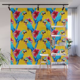 Macaw & flowers pattern Wall Mural