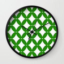 Abstract pattern - green and white. Wall Clock