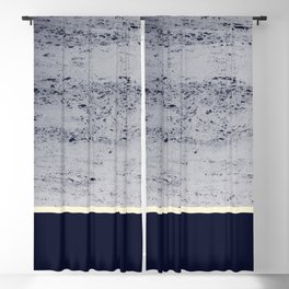 Navy Blue Pale Yellow on Navy Blue Concrete #1 #decor #art #society6 Blackout Curtain