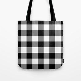 Black and White Buffalo Plaid Tote Bag