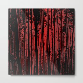 Red Tree Silhouettes Metal Print