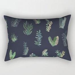Green Garden in deep Blue Rectangular Pillow