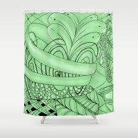 zentangle Shower Curtains featuring Zentangle by Annalisa Amato Art
