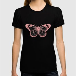 Vintage Pink Butterflly Illustration on Black Background T-shirt