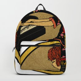 Vintage girl playing piano Backpack