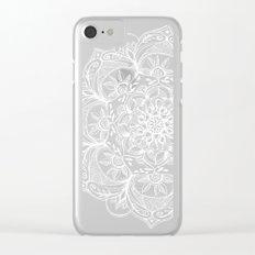 Turquoise & White Mandalas on Grey Clear iPhone Case