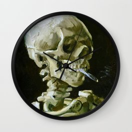 Vincent van Gogh - Head of a skeleton with a burning cigarette - Original white Wall Clock