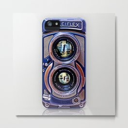 Retro Blue Rolleiflex Dual lens camera iPhone 4 4s 5 5c, ipod, ipad, tshirt, mugs and pillow case Metal Print