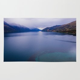 Lake Hawea lake wakatipo blue crystal clear panorama blue Rug