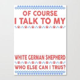 White German Shepherd Ugly Christmas Sweater Canvas Print
