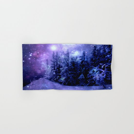 Galaxy Winter Forest Lavender Purple Blue Hand & Bath Towel