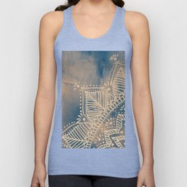 Mandala flower on watercolor background - pink and blue Unisex Tank Top