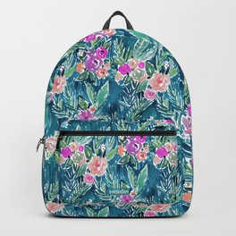 NAVY PARADISE FLORAL Tropical Hibiscus Palm Pattern Backpack