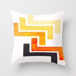 Orange Ancient Aztec Pattern Mid-century Modern Simple Geometric Pattern Watercolor Minimalist Art S Throw Pillow