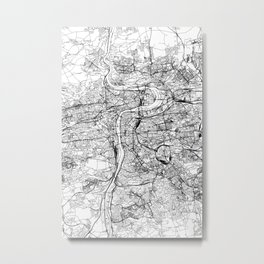 Prague White Map Metal Print