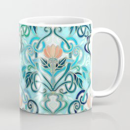 Ocean Aqua Art Nouveau Pattern with Peach Flowers Coffee Mug