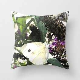 Cabbage White Butterfly Digital Manipulation Throw Pillow