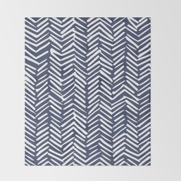 Boho Herringbone Pattern, Navy Blue and White Throw Blanket