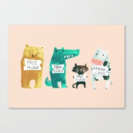 Animal idioms - its a free world Canvas Print