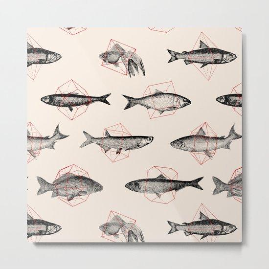Fishes In Geometrics (Red) Metal Print