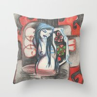 cross Throw Pillows featuring cross by sabrina.gennari