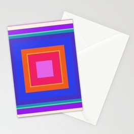 Squares in Purple, Blue, Red, Pink Stationery Cards