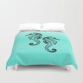 Aqua Seahorse Design Duvet Cover
