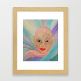 Bald is Beauty with Brown Eyes Framed Art Print