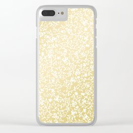 Hand painted modern faux gold white floral pattern Clear iPhone Case