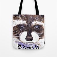 raccoon Tote Bags featuring Raccoon by Iskoskikh Sveta