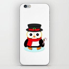 Festive Christmas Penguin Cartoon iPhone Skin