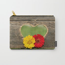 Wooden Heart with Flowers Carry-All Pouch